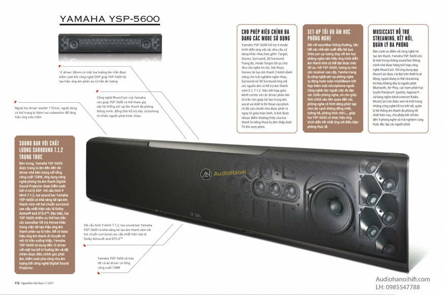 Loa soundbar Yamaha YSP-5600 thong so